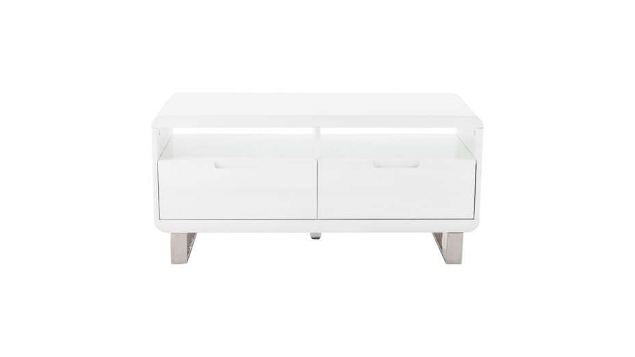 Meuble t l blanc laqu design 1 m tre paris for Petit meuble tv blanc