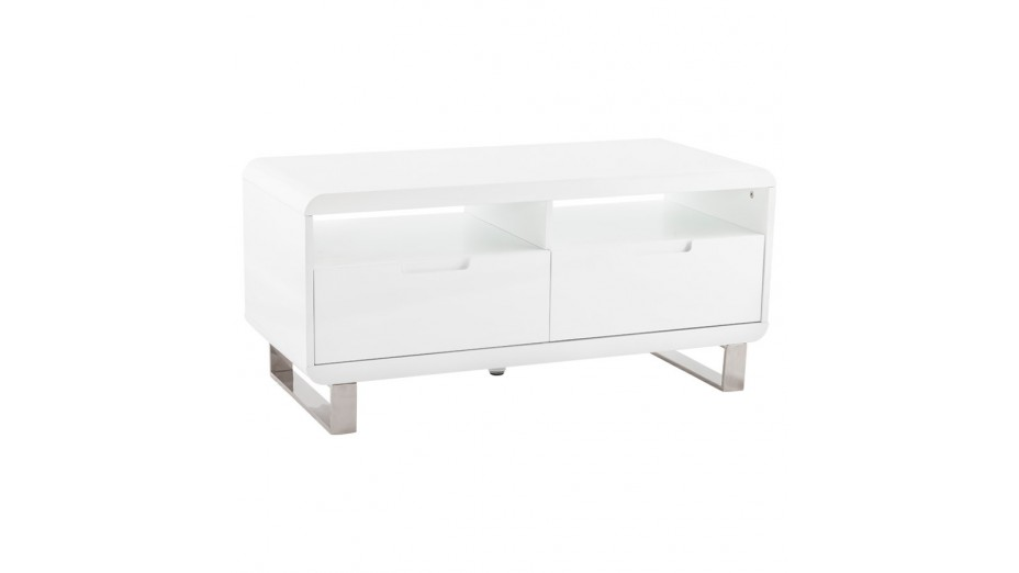 Meuble Tele Blanc Laque Design 1 Metre Paris