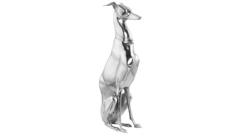 DOG - Statue chien assis aluminium
