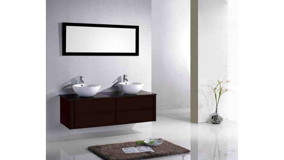 kit complet meuble de salle de bain double vasque. Black Bedroom Furniture Sets. Home Design Ideas