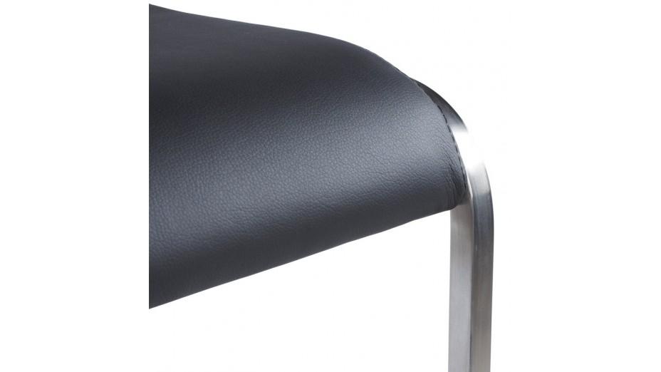 Aska - Tabouret de bar en similicuir noir et acier brossé