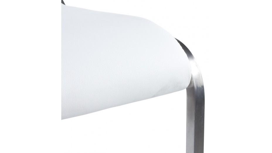 Aska - Tabouret de bar en similicuir blanc et acier brossé