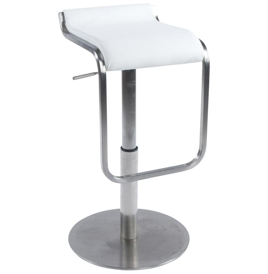 Aska tabouret de bar en similicuir blanc et acier bross - Chaise de bar acier brosse ...