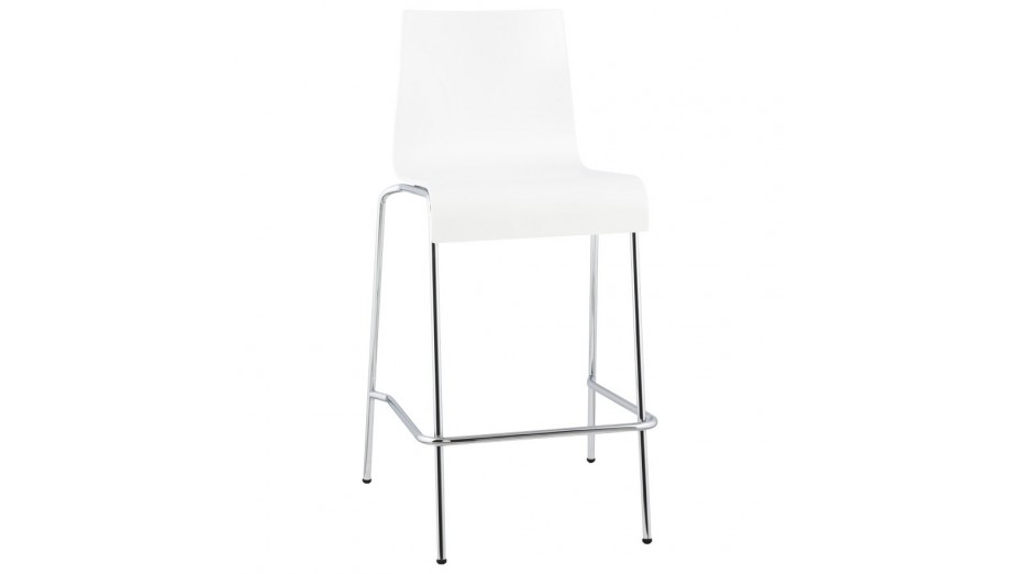 Mars Mini - Tabouret de bar assise bois blanc