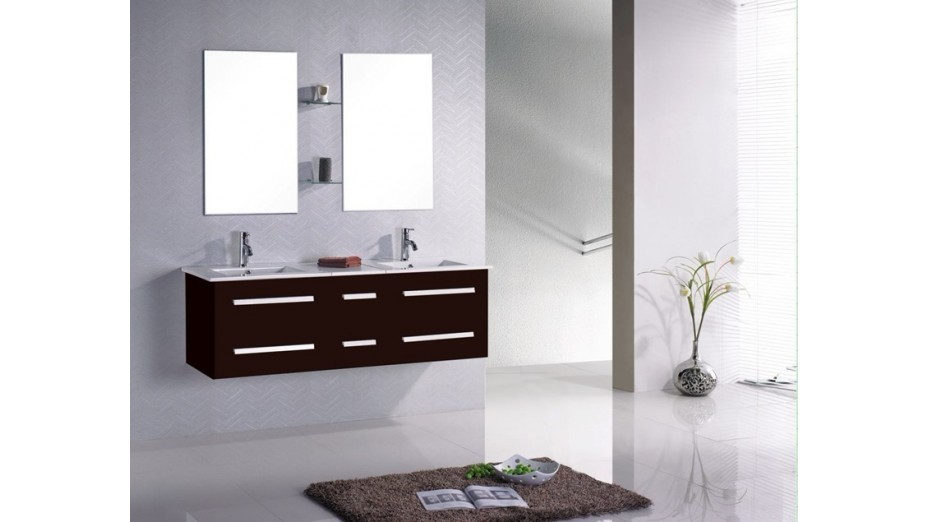 meuble de salle de bain suspendu double vasque avec tiroirs coulissants. Black Bedroom Furniture Sets. Home Design Ideas