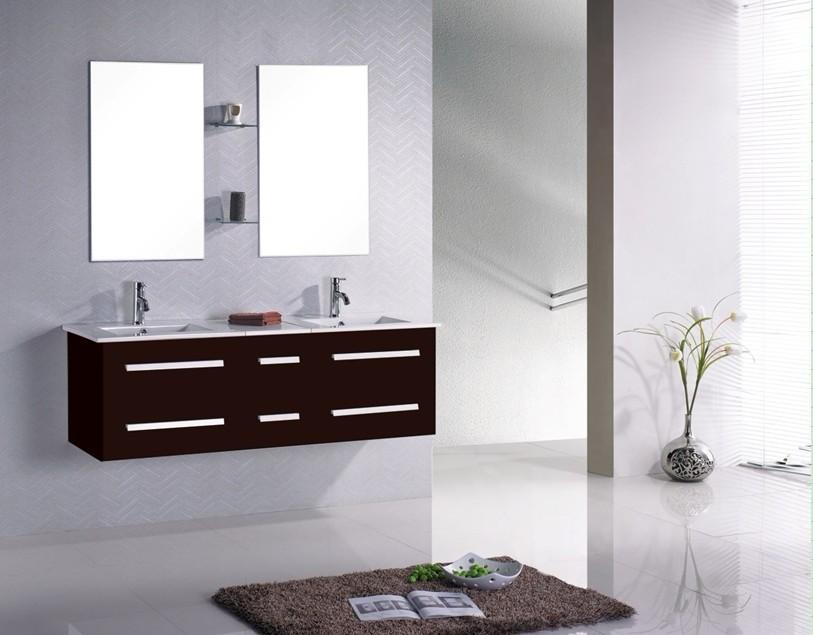 Meuble de salle de bain suspendu double vasque avec tiroirs coulissants - Meuble double vasque suspendu ...