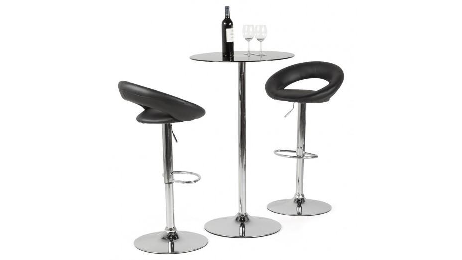 Alfa Tabouret De Bar Moderne Similicuir Noir