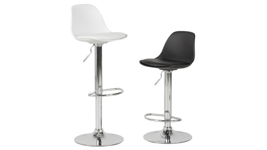 jelly tabouret de bar r glable assise blanche. Black Bedroom Furniture Sets. Home Design Ideas