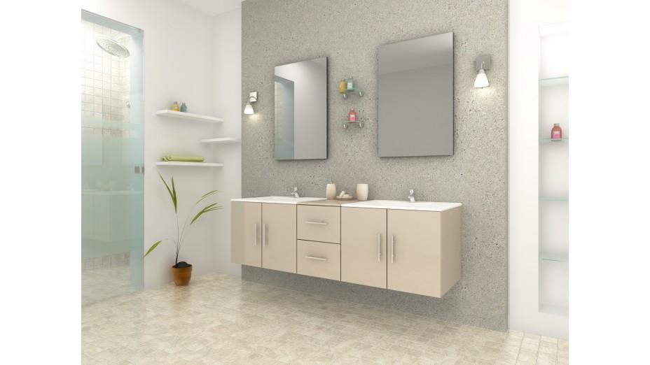 Meuble de salle de bain design double vasque complet cappuccino