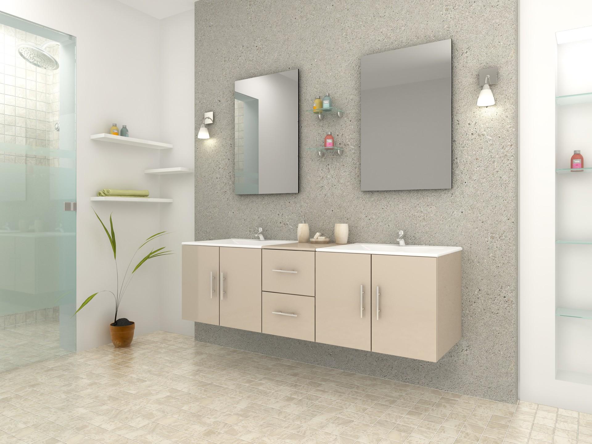 meuble de salle de bain design double vasque complet cappuccino. Black Bedroom Furniture Sets. Home Design Ideas