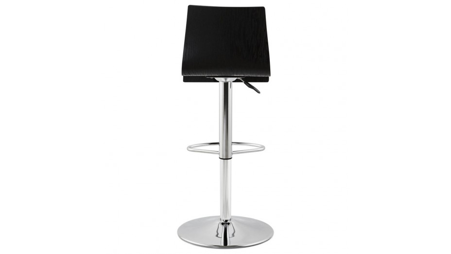 teo tabouret de bar r glable moderne assise bois noir. Black Bedroom Furniture Sets. Home Design Ideas