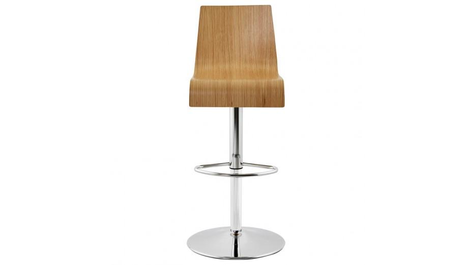 Teo tabouret de bar r glable moderne assise bois naturel - Tabouret de bar moderne ...
