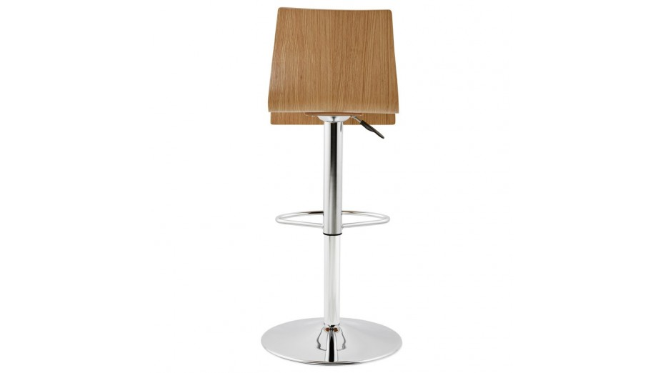 Teo Tabouret de bar réglable moderne assise bois naturel
