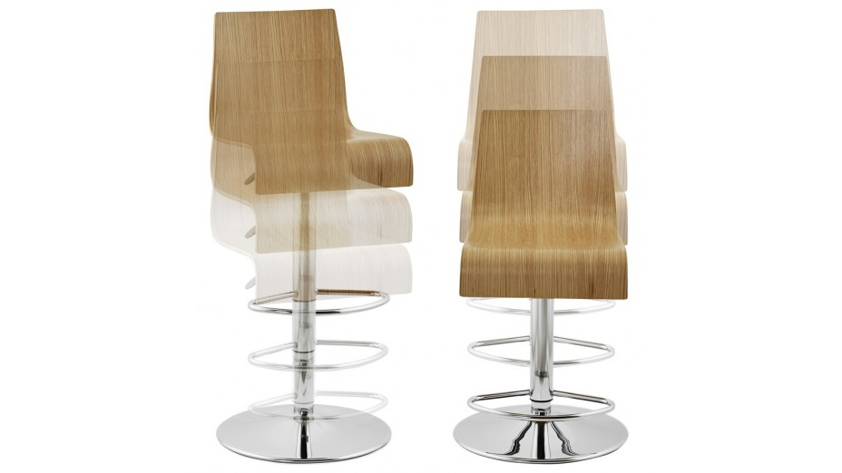 Teo Tabouret de bar réglable moderne assise bois naturel # Bar En Bois Moderne