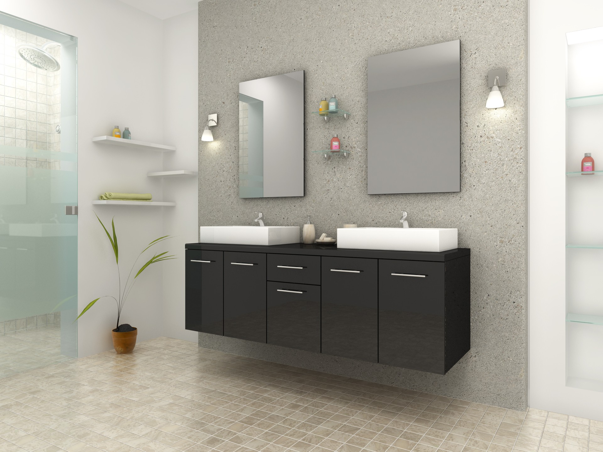 Salle de bain travertin gris for Petit meuble double vasque