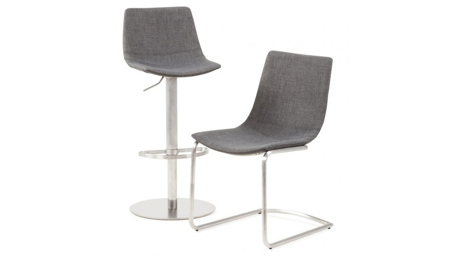 swag tabouret de bar r gable en tissu gris fonc. Black Bedroom Furniture Sets. Home Design Ideas