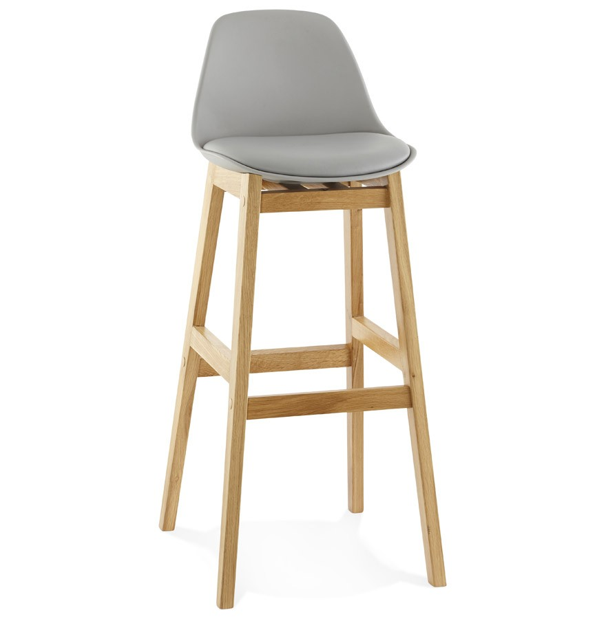 Ring tabouret de bar pied bois naturel - Tabouret bar design bois ...