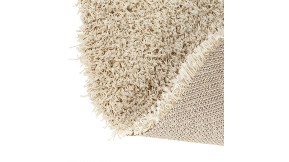 cobe rond tapis design rond 160 cm poils longs cr me. Black Bedroom Furniture Sets. Home Design Ideas