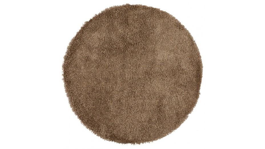 cobe rond tapis design rond 160 cm poils longs brun. Black Bedroom Furniture Sets. Home Design Ideas