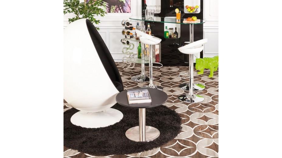 cobe rond gm tapis design rond 200 cm poils longs noir. Black Bedroom Furniture Sets. Home Design Ideas