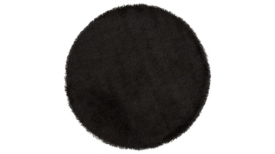cobe rond gm tapis design rond 200 cm poils longs noir. Black Bedroom Furniture Sets. Home Design Ideas