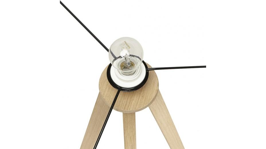 modena lampadaire tr pied abat jour noir pied ch ne clair. Black Bedroom Furniture Sets. Home Design Ideas