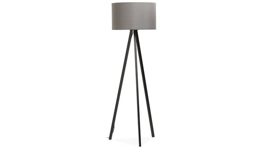 modena lampadaire tr pied abat jour gris pied noir. Black Bedroom Furniture Sets. Home Design Ideas