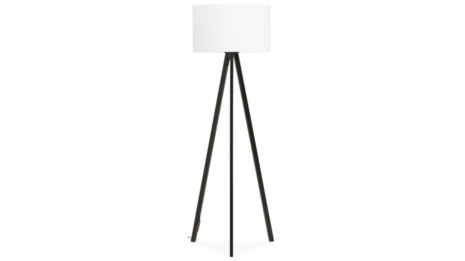 modena lampadaire tr pied abat jour blanc pied noir. Black Bedroom Furniture Sets. Home Design Ideas