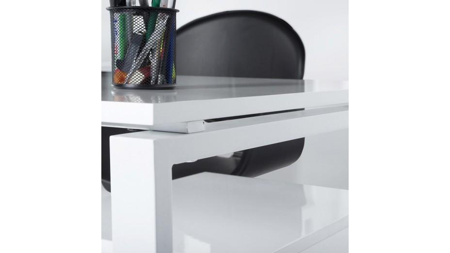 Pluton bureau d angle en bois laqué blanc