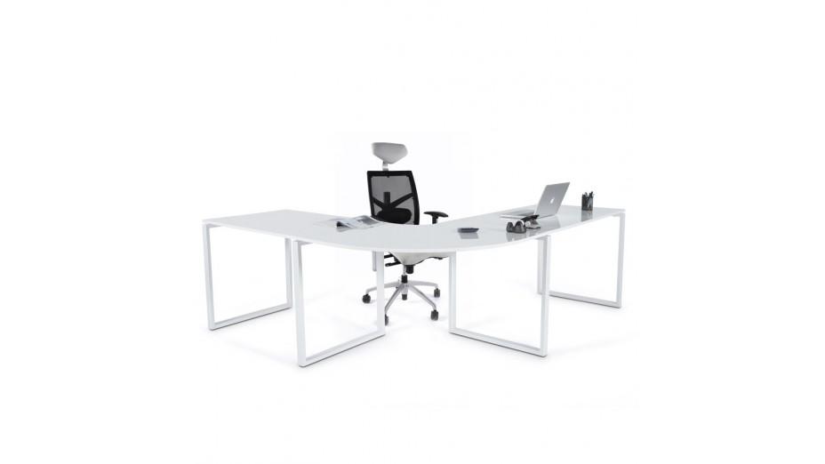 Pluton bureau d 39 angle en bois laqu blanc - Bureau d angle modulable ...