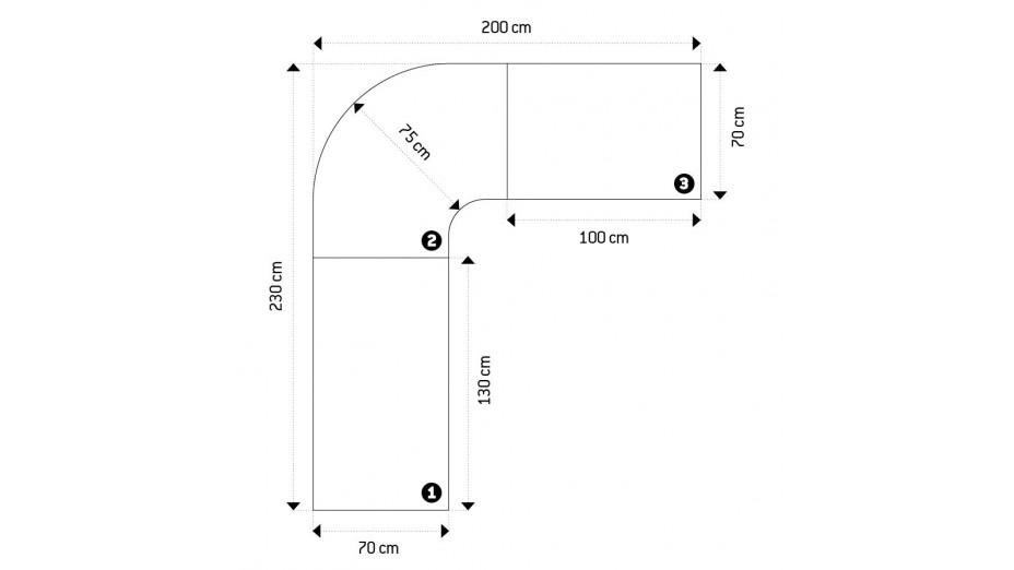 Pluton - Bureau d'angle en bois laqué blanc