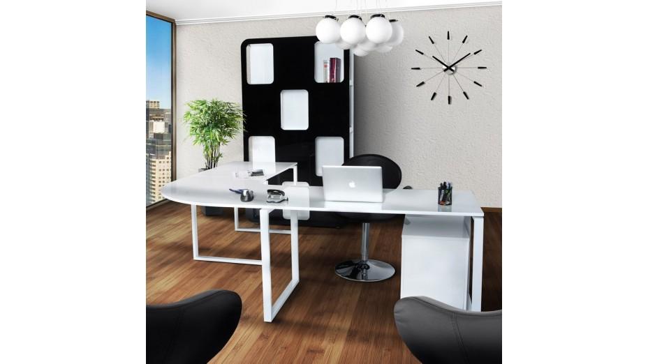 Pluton bureau d 39 angle en bois laqu blanc for Bureau blanc en bois