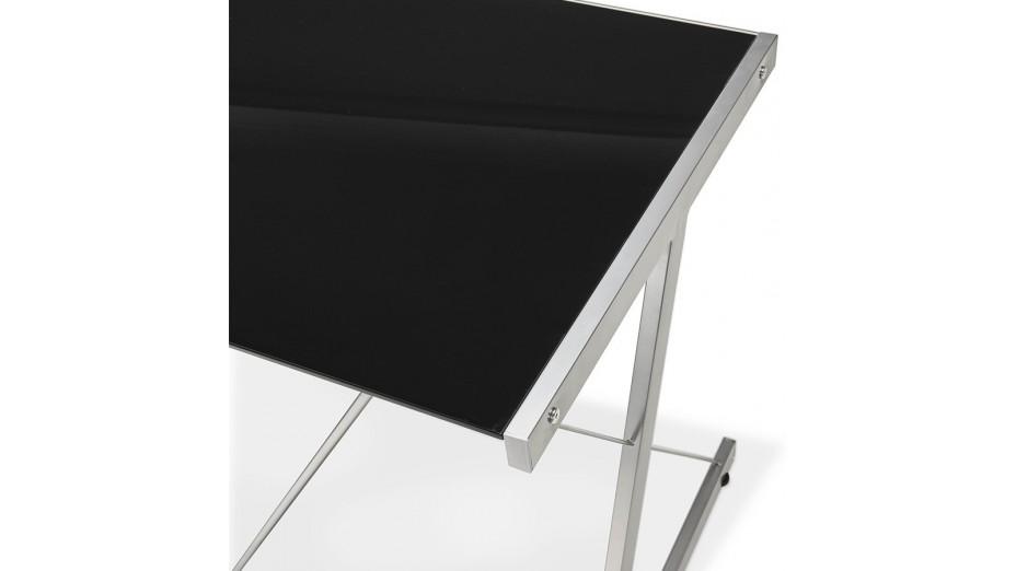 Bureau informatique pascal tiroir verre trempé noir