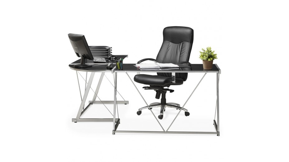 Mercure bureau d angle design plateau verre noir