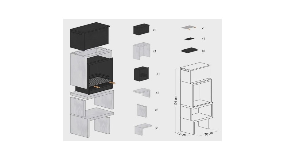 LIV 01 - Barbecue design en béton