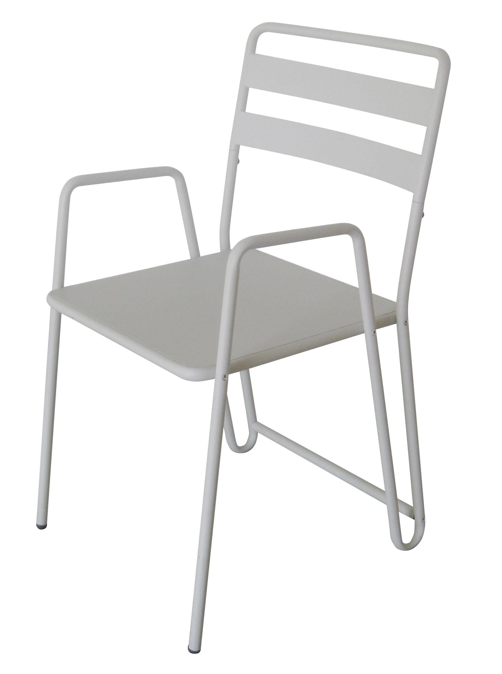 chaise fauteuil industriel en m tal blanc avec accoudoirs et coussin. Black Bedroom Furniture Sets. Home Design Ideas