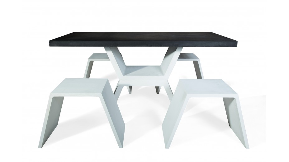 TABMOD 01 - Table + 4 tabourets en béton