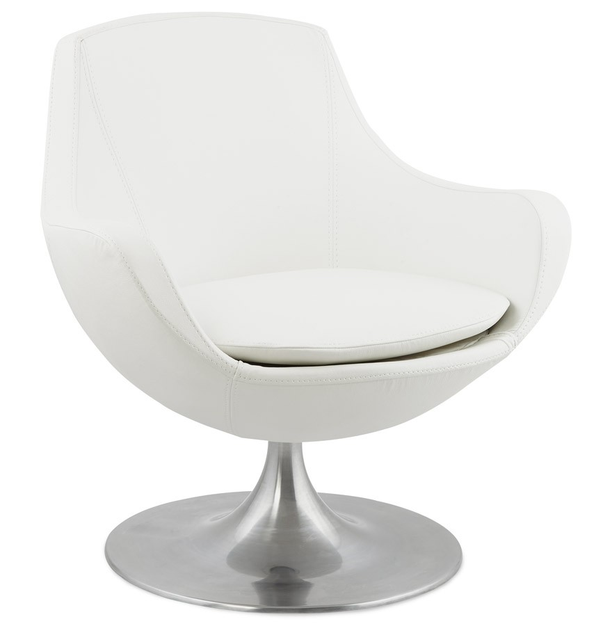 lounge fauteuil moderne en simili cuir blanc. Black Bedroom Furniture Sets. Home Design Ideas
