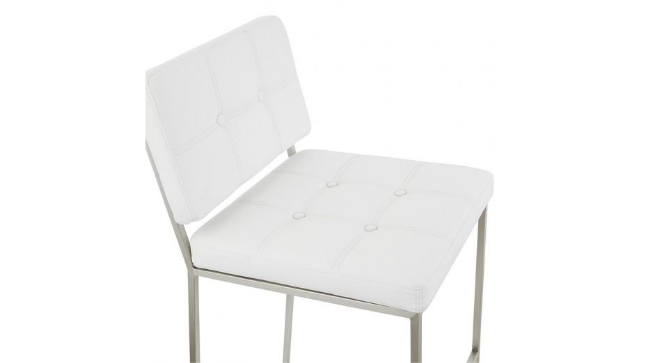 Ralph tabouret de bar mi hauteur similicuir blanc - Chaise mi hauteur ...