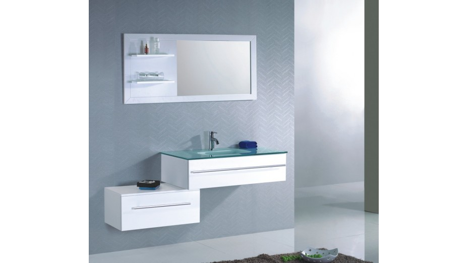Ensemble meuble de salle de bain simple vasque en verre tremp for Salle de bain mobilier