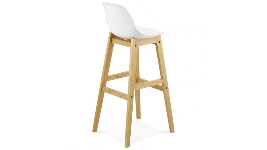 Ring tabouret de bar blanc pied bois naturel - Tabouret de bar plastique ...