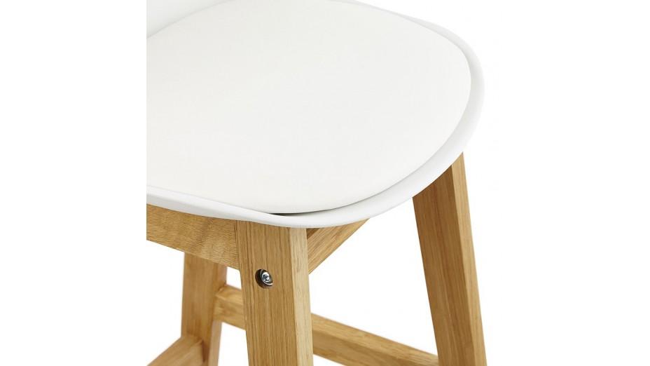 Ring - Tabouret de bar blanc pied bois naturel