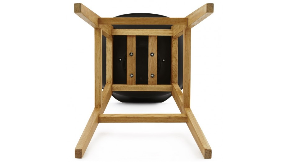 ring tabouret de bar noir pied bois naturel. Black Bedroom Furniture Sets. Home Design Ideas