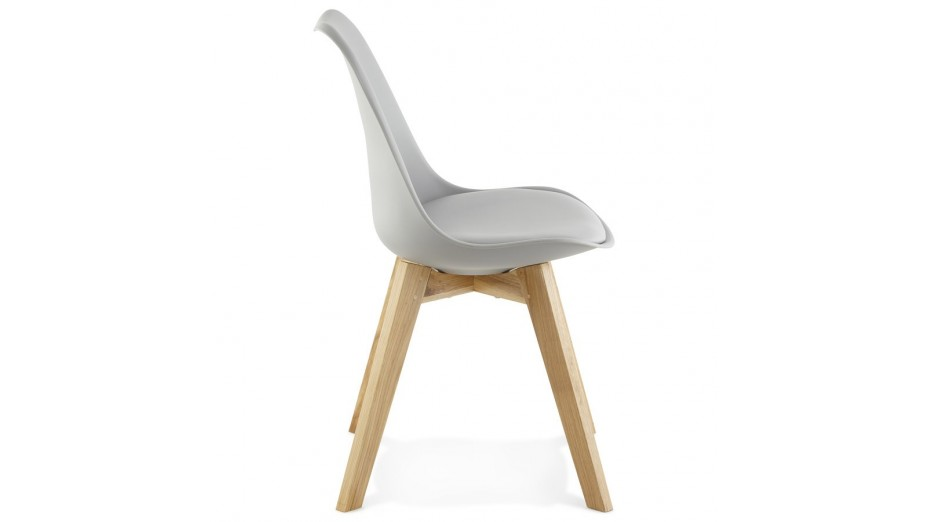Trendy - Chaise Grise pied bois