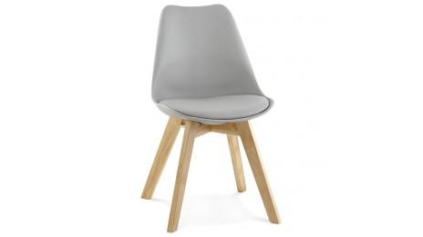 Table carr e avec rallonge en ch ne massif nathan for Chaise grise pied bois