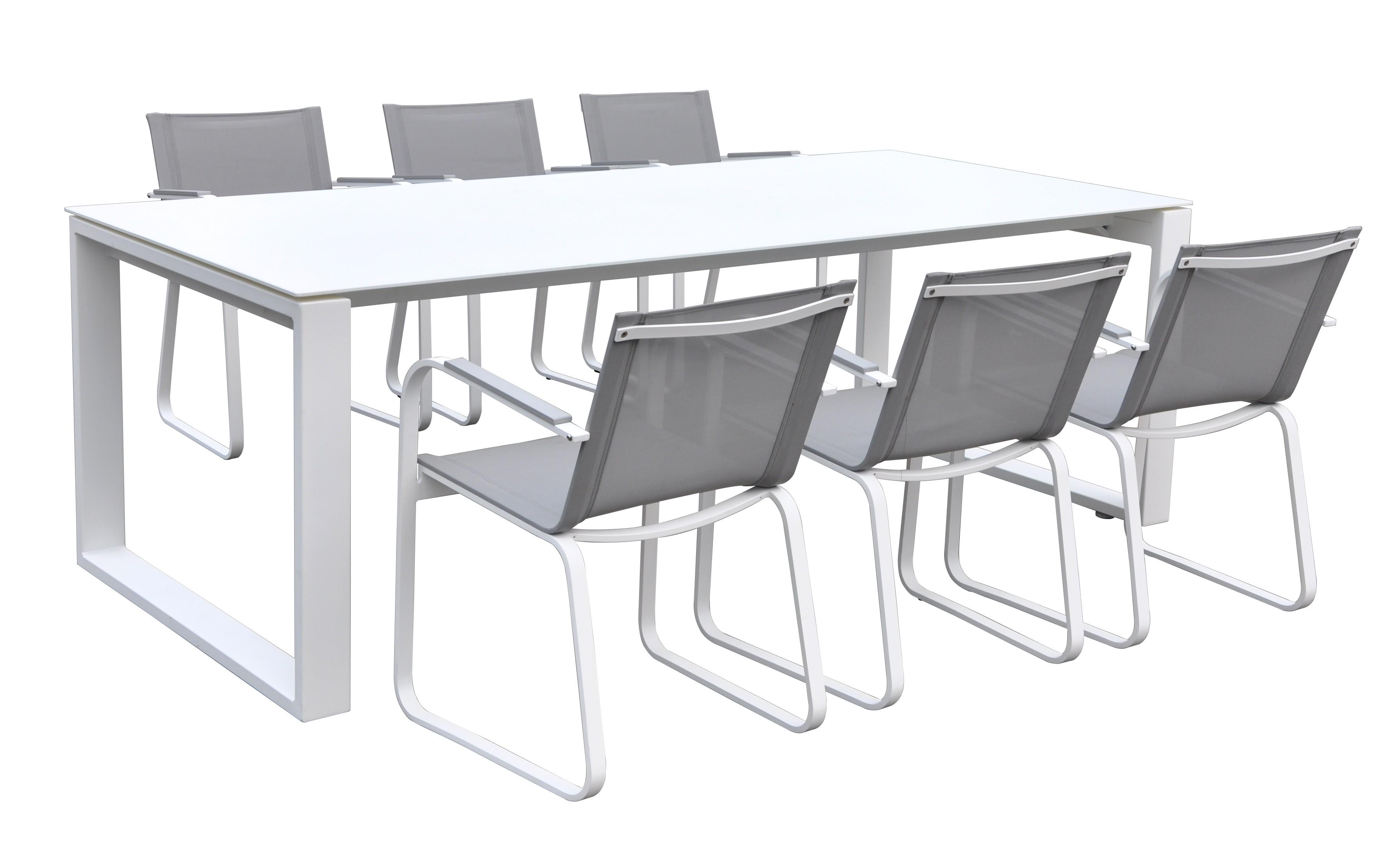 Table et chaises haut de gamme blanc taupe syracuse for Table exterieur haut de gamme
