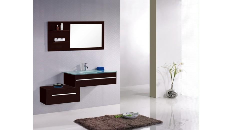 Ensemble meuble de salle de bain simple vasque en verre tremp - Meuble appoint salle de bain ...